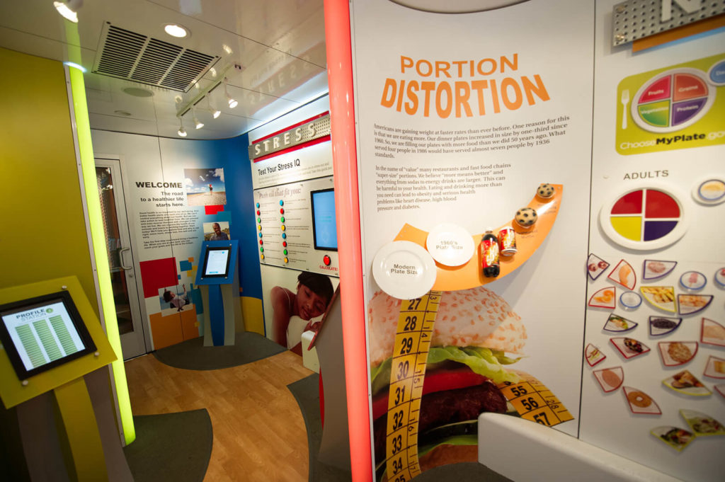 Portion Distortion station inside Cigna's mobile exhibit trailer, highlighting the need for better nutrition