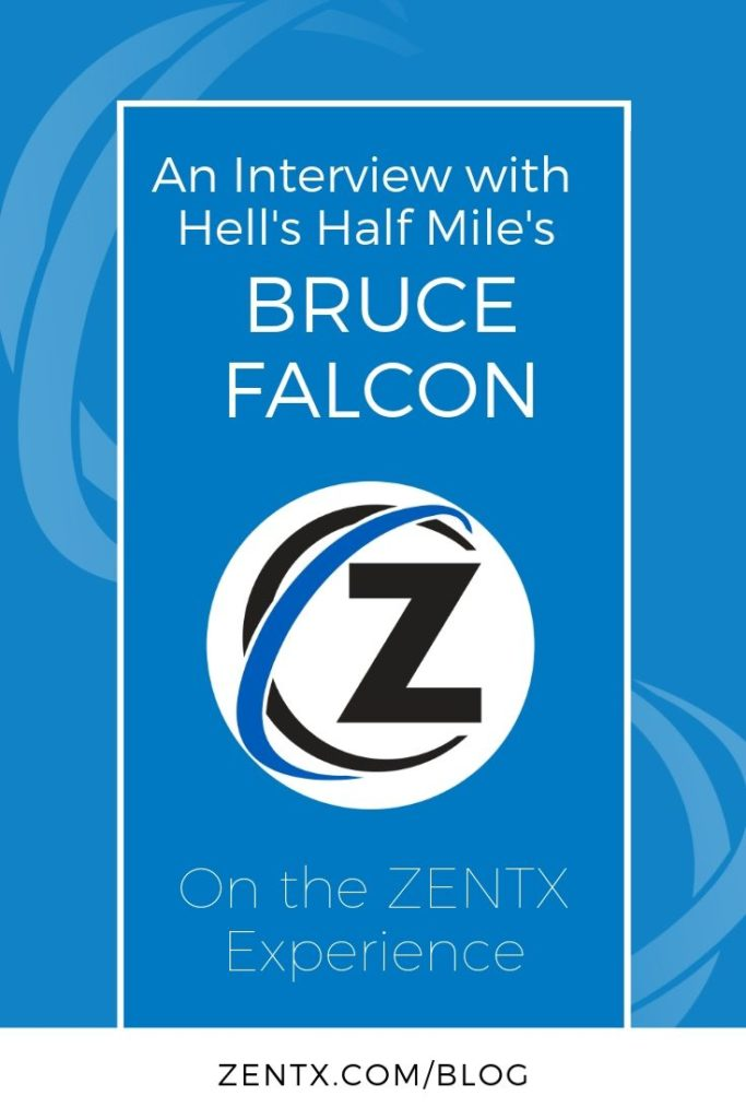 Graphic with a blue background explaining that this is an interview with Bruce Falcon from Hell's Half Mile.