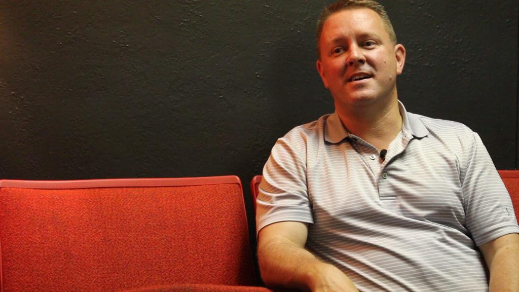 A portrait of Bruce Falcon, treasurer of Hell's Half Mile Film & Music Festival