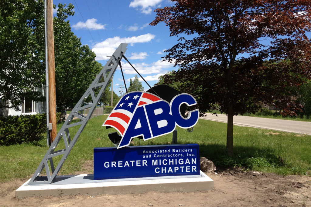 Creative sign built for ABC of Midland County