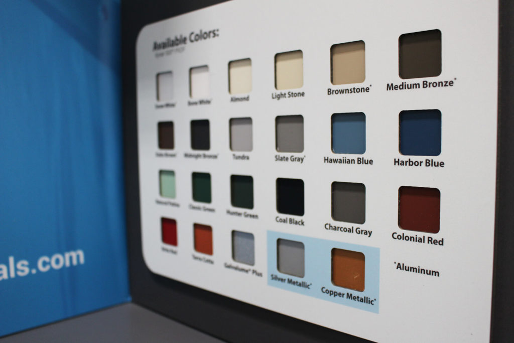 Closeup of color samples on Exceptional Metals display