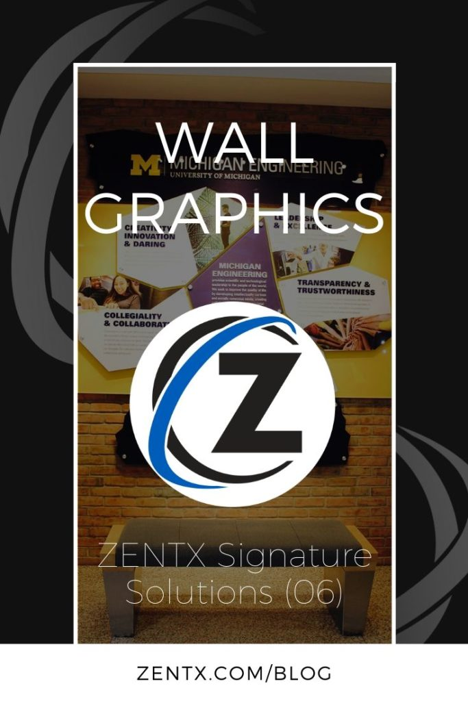 """Black graphic; text reads: """"wall graphics: ZENTX signature solutions (06)"""""""