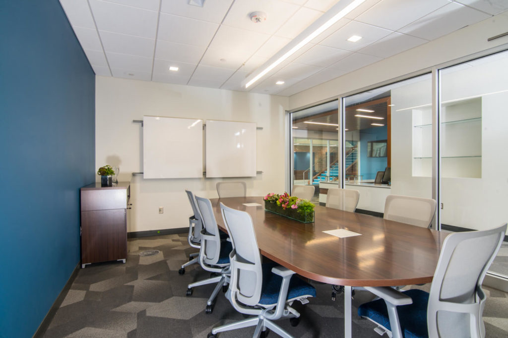 Blue conference room designed by SPACE inc in Midland, MI