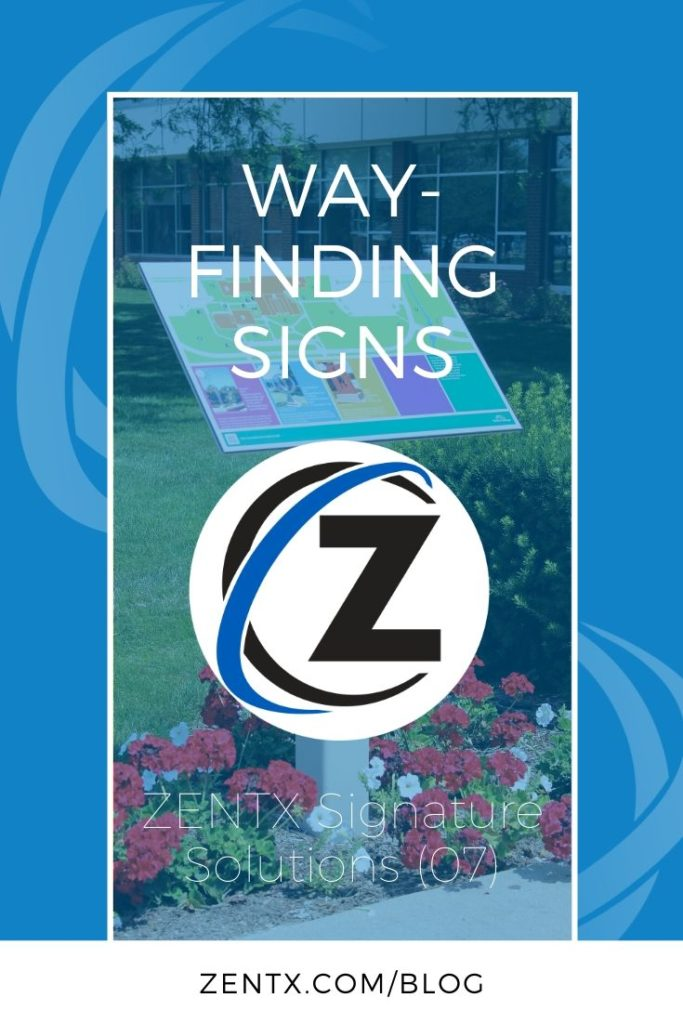 "Blue graphic; text reads ""Wayfinding Signs: ZENTX Signature Solutions (07)"""