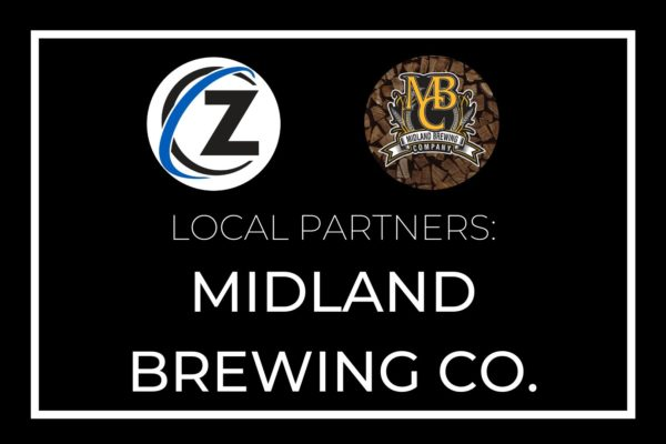"Black graphic; text reads ""Local Partners: Midland Brewing Company"""