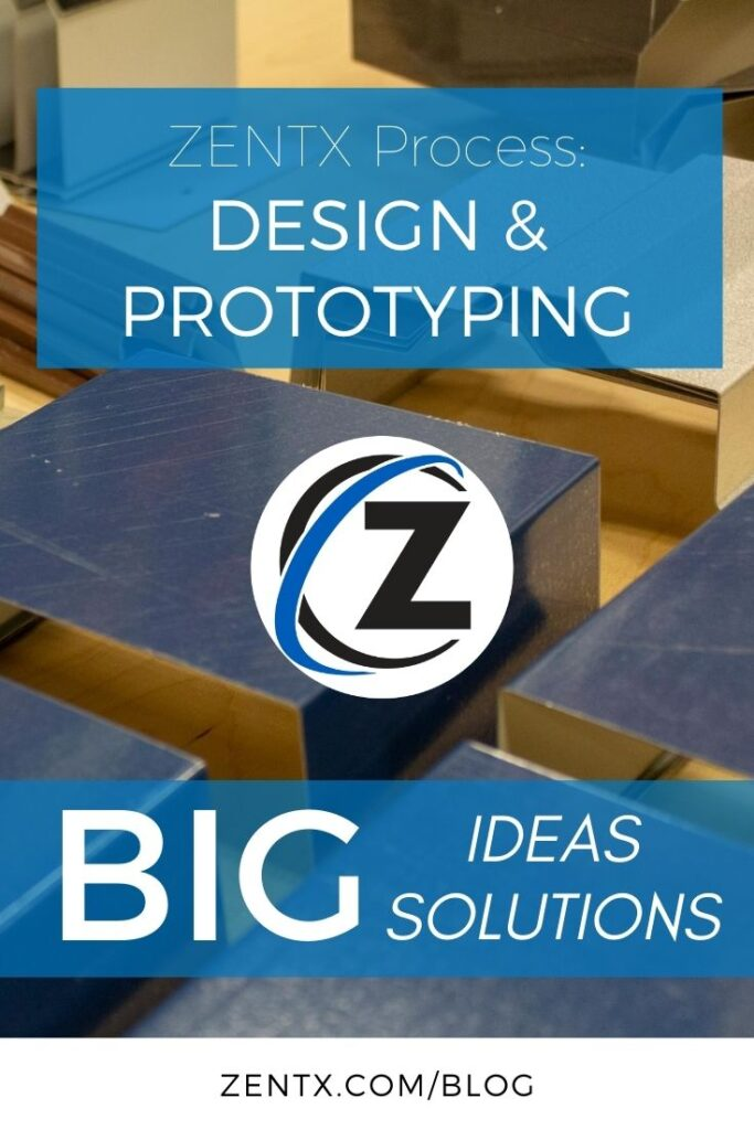 """Blue graphic; text reads: """"ZENTX process: Design and Prototyping"""""""