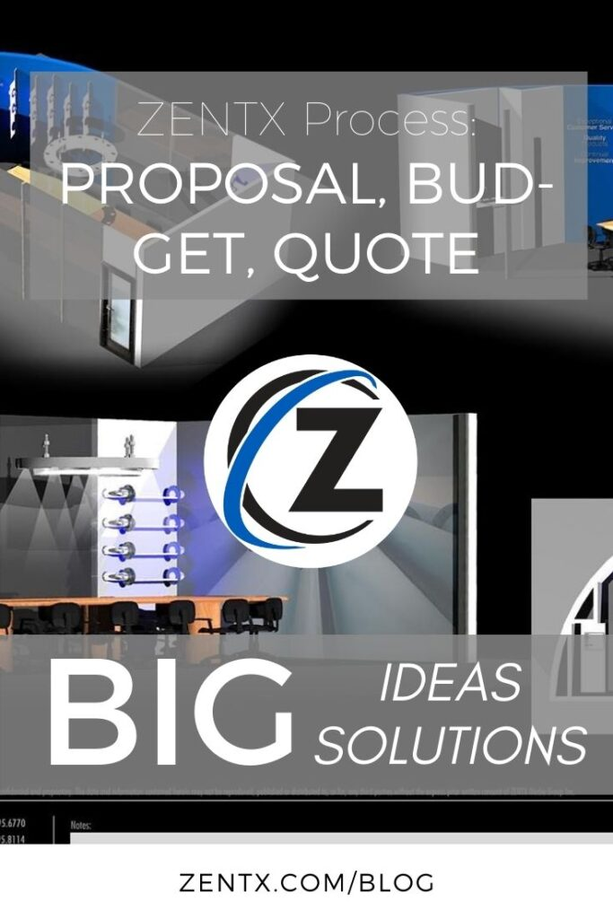 "Gray graphic; text reads: ""ZENTX Process: Proposal, budget, quote"""