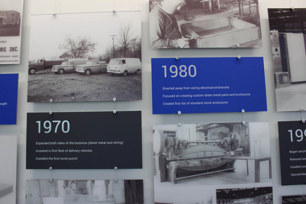 Closeup of the timeline ZENTX created for SCE, showing two information panels and several historical photos