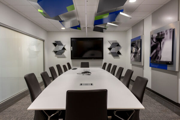 The conference room ZENTX designed for SCE, showing decorative ceiling panels and wall art