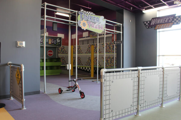 Side view of Tinker Track exhibit at Mid-Michigan Children's Museum