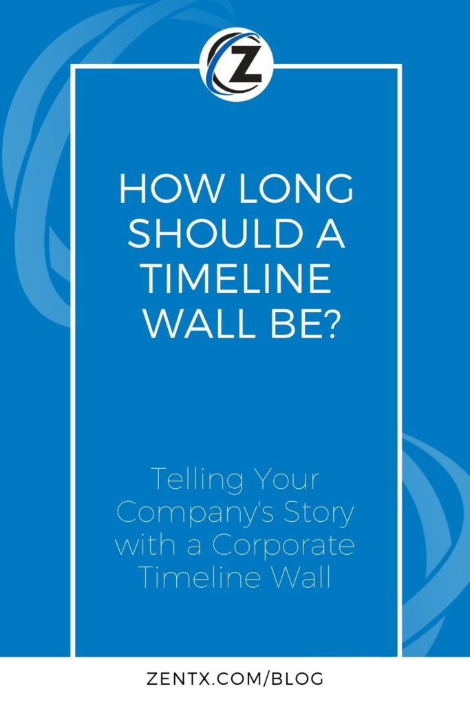 """Blue graphic; text reads, """"How Long Should a Timeline Wall Be? Telling Your Company's Story with a Corporate Timeline Wall."""""""