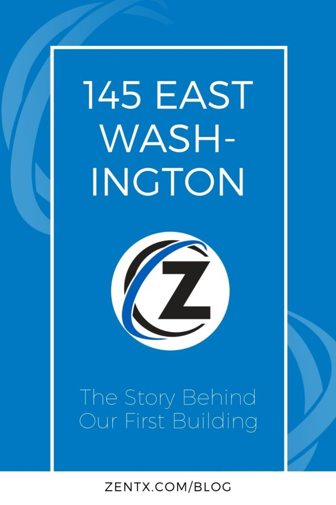 """Blue graphic; text reads, """"145 East Washington: The Story Behind Our First Building"""""""