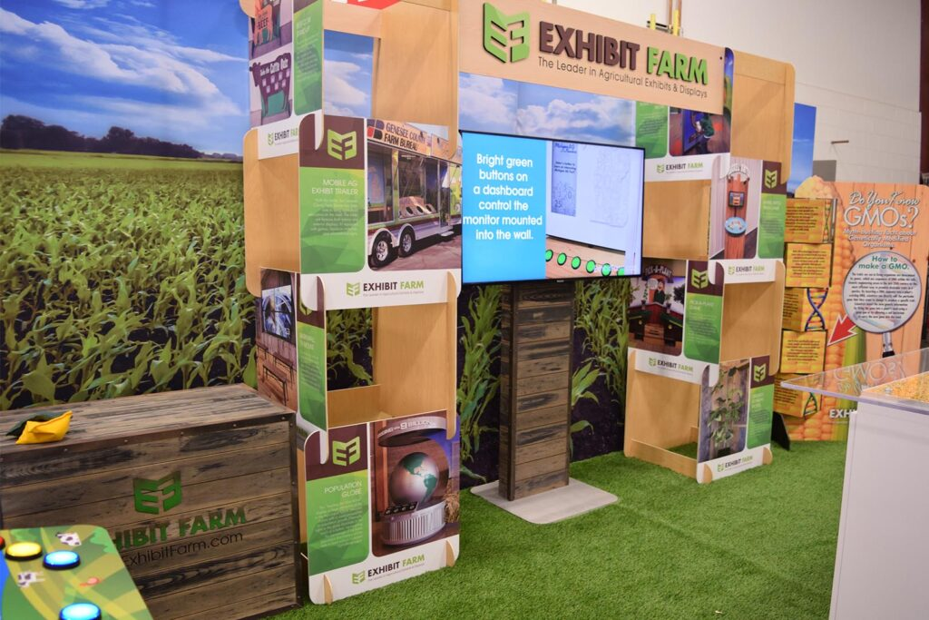 Two sets of stacked informational panels, developed by Exhibit Farm.