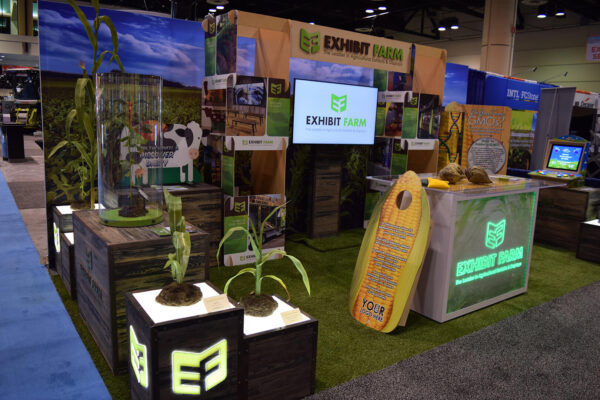 Exhibit Farm's trade show booth, showing many of its products